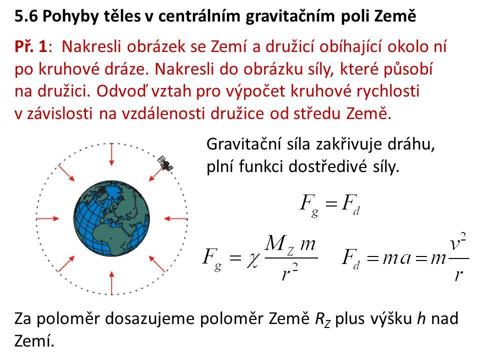 5.6 Pohyby těles v centrálním gravitačním poli Země Př.