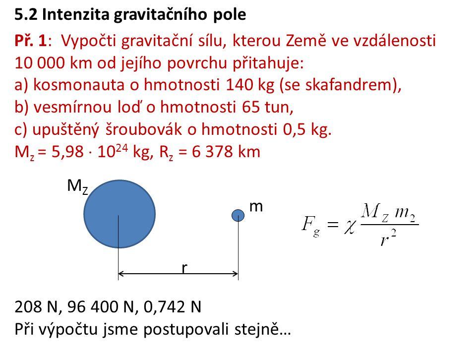 5.2 Intenzita gravitačního pole Př.