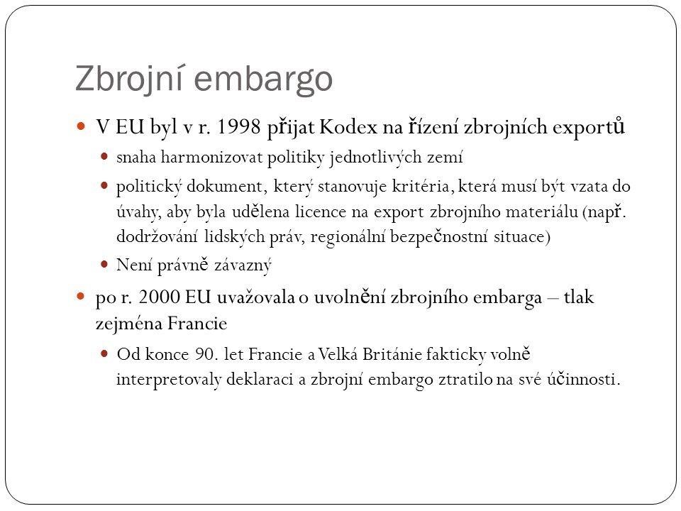 Zbrojní embargo  V EU byl v r. 1998 p ř ijat Kodex na ř ízení zbrojních export ů  snaha harmonizovat politiky jednotlivých zemí  politický dokument