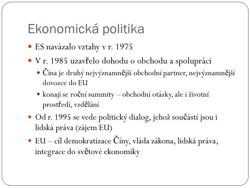 Ekonomická politika  ES navázalo vztahy v r. 1975  V r. 1985 uzav ř elo dohodu o obchodu a spolupráci  Č ína je druhý nejvýznamn ě jší obchodní par