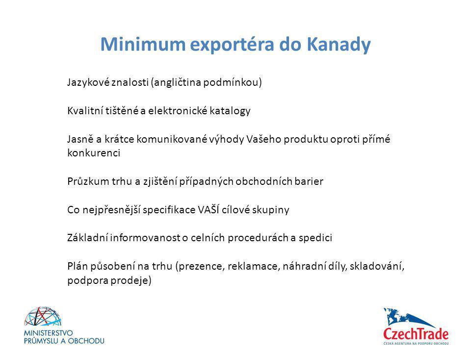 Minimum exportéra do Kanady Jazykové znalosti (angličtina podmínkou) Kvalitní tištěné a elektronické katalogy Jasně a krátce komunikované výhody Vašeh