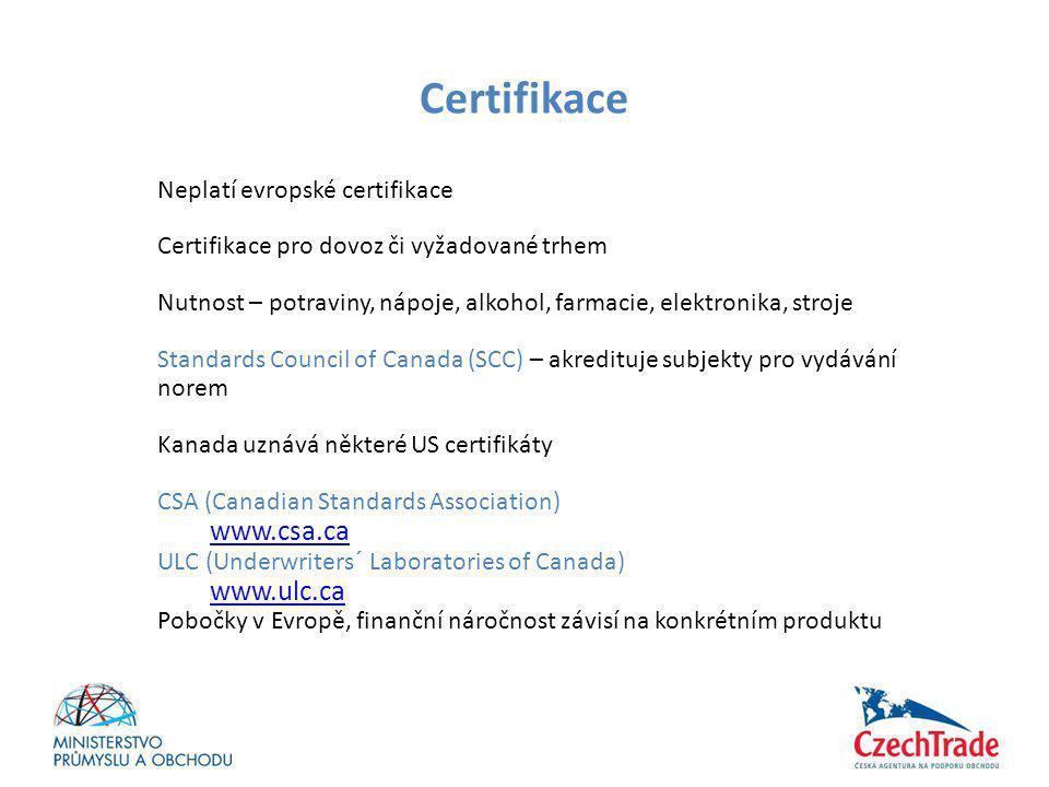 Certifikace Neplatí evropské certifikace Certifikace pro dovoz či vyžadované trhem Nutnost – potraviny, nápoje, alkohol, farmacie, elektronika, stroje
