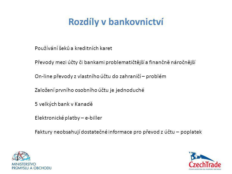 Rozdíly v bankovnictví Používání šeků a kreditních karet Převody mezi účty či bankami problematičtější a finančně náročnější On-line převody z vlastní