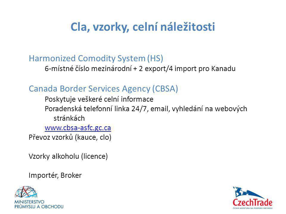 Cla, vzorky, celní náležitosti Harmonized Comodity System (HS) 6-místné číslo mezinárodní + 2 export/4 import pro Kanadu Canada Border Services Agency