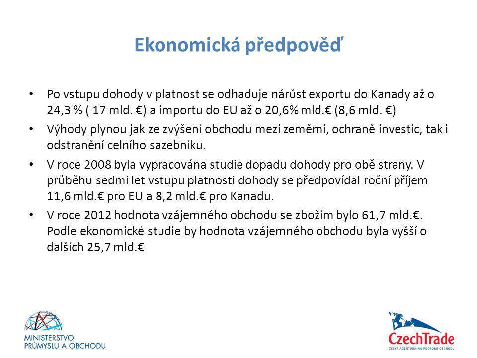 Ekonomická předpověď • Po vstupu dohody v platnost se odhaduje nárůst exportu do Kanady až o 24,3 % ( 17 mld. €) a importu do EU až o 20,6% mld.€ (8,6