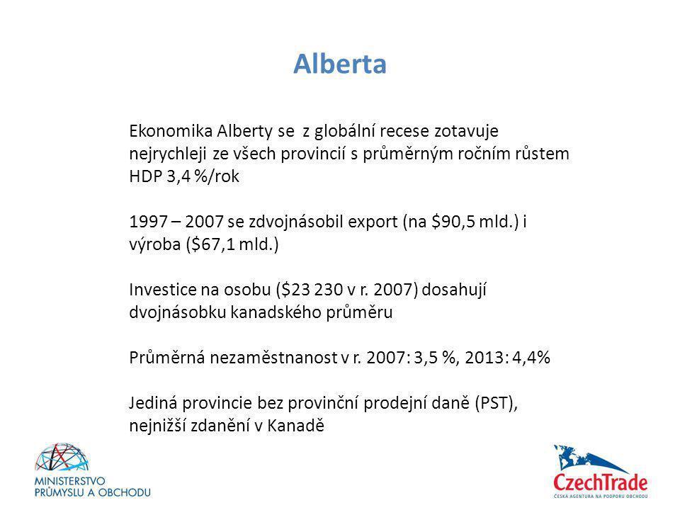 Alberta Ekonomika Alberty se z globální recese zotavuje nejrychleji ze všech provincií s průměrným ročním růstem HDP 3,4 %/rok 1997 – 2007 se zdvojnás