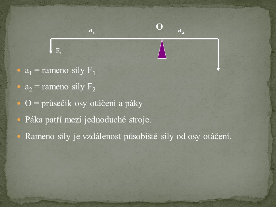  a 1 = rameno síly F 1  a 2 = rameno síly F 2  O = průsečík osy otáčení a páky  Páka patří mezi jednoduché stroje.