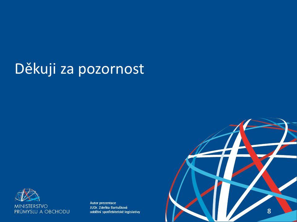 Autor prezentace JUDr. Zdeňka Bartušková oddělní spotřebitelské legislativy Zákon o kontrole 88 Děkuji za pozornost