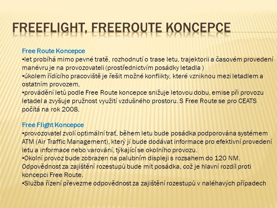 Free Route Koncepce • let probíhá mimo pevné tratě, rozhodnutí o trase letu, trajektorii a časovém provedení manévru je na provozovateli (prostřednictvím posádky letadla ) • úkolem řídícího pracoviště je řešit možné konflikty, které vzniknou mezi letadlem a ostatním provozem, • provádění letů podle Free Route koncepce snižuje letovou dobu, emise při provozu letadel a zvyšuje pružnost využití vzdušného prostoru.