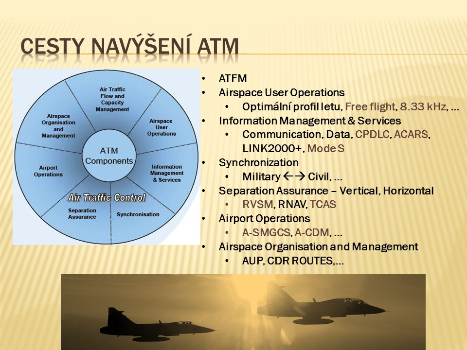 • ATFM • Airspace User Operations • Optimální profil letu, Free flight, 8.33 kHz, … • Information Management & Services • Communication, Data, CPDLC, ACARS, LINK2000+, Mode S • Synchronization • Military  Civil, … • Separation Assurance – Vertical, Horizontal • RVSM, RNAV, TCAS • Airport Operations • A-SMGCS, A-CDM, … • Airspace Organisation and Management • AUP, CDR ROUTES,…