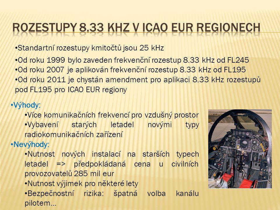 • Standartní rozestupy kmitočtů jsou 25 kHz • Od roku 1999 bylo zaveden frekvenční rozestup 8.33 kHz od FL245 • Od roku 2007 je aplikován frekvenční rozestup 8.33 kHz od FL195 • Od roku 2011 je chystán amendment pro aplikaci 8.33 kHz rozestupů pod FL195 pro ICAO EUR regiony • Výhody: • Více komunikačních frekvencí pro vzdušný prostor • Vybavení starých letadel novými typy radiokomunikačních zařízení • Nevýhody: • Nutnost nových instalací na starších typech letadel => předpokládaná cena u civilních provozovatelů 285 mil eur • Nutnost výjimek pro některé lety • Bezpečnostní rizika: špatná volba kanálu pilotem…