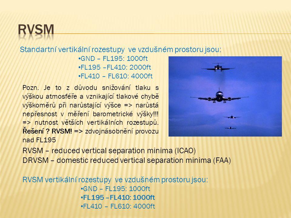 Standartní vertikální rozestupy ve vzdušném prostoru jsou: • GND – FL195: 1000ft • FL195 –FL410: 2000ft • FL410 – FL610: 4000ft RVSM – reduced vertical separation minima (ICAO) DRVSM – domestic reduced vertical separation minima (FAA) RVSM vertikální rozestupy ve vzdušném prostoru jsou: • GND – FL195: 1000ft • FL195 –FL410: 1000ft • FL410 – FL610: 4000ft Pozn.