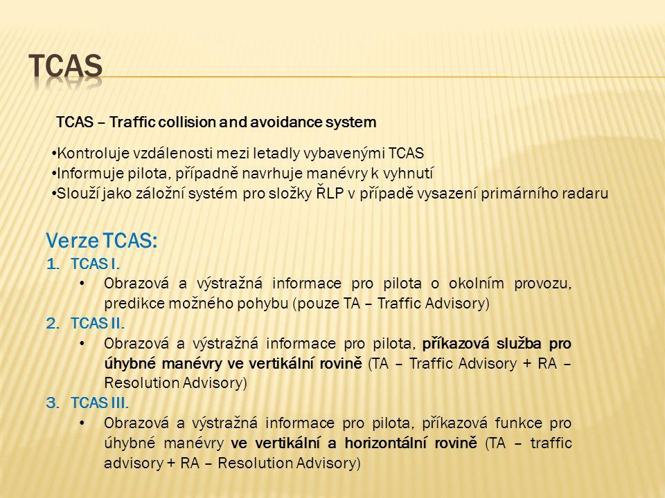 TCAS – Traffic collision and avoidance system • Kontroluje vzdálenosti mezi letadly vybavenými TCAS • Informuje pilota, případně navrhuje manévry k vyhnutí • Slouží jako záložní systém pro složky ŘLP v případě vysazení primárního radaru Verze TCAS: 1.TCAS I.