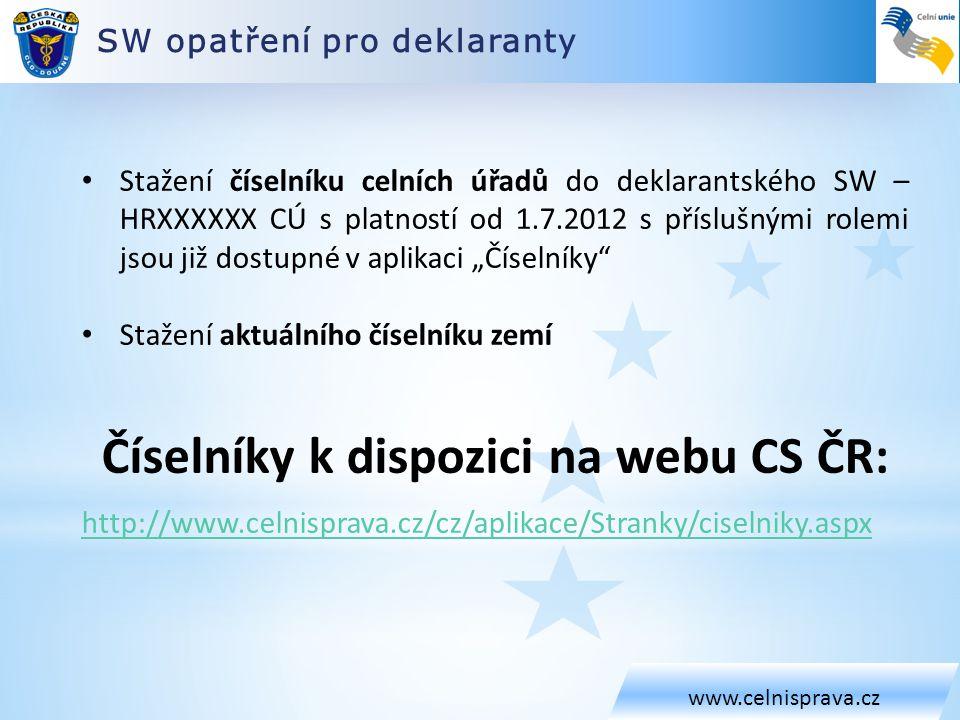 SW opatření pro deklaranty www.celnisprava.cz • Stažení číselníku celních úřadů do deklarantského SW – HRXXXXXX CÚ s platností od 1.7.2012 s příslušný