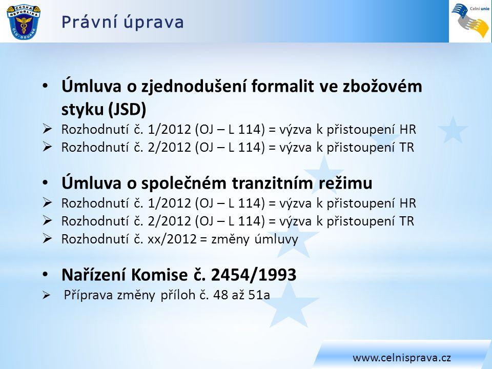 Právní úprava www.celnisprava.cz • Úmluva o zjednodušení formalit ve zbožovém styku (JSD)  Rozhodnutí č. 1/2012 (OJ – L 114) = výzva k přistoupení HR