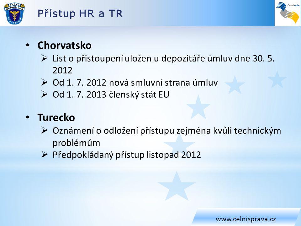Přístup HR a TR www.celnisprava.cz • Chorvatsko  List o přistoupení uložen u depozitáře úmluv dne 30. 5. 2012  Od 1. 7. 2012 nová smluvní strana úml
