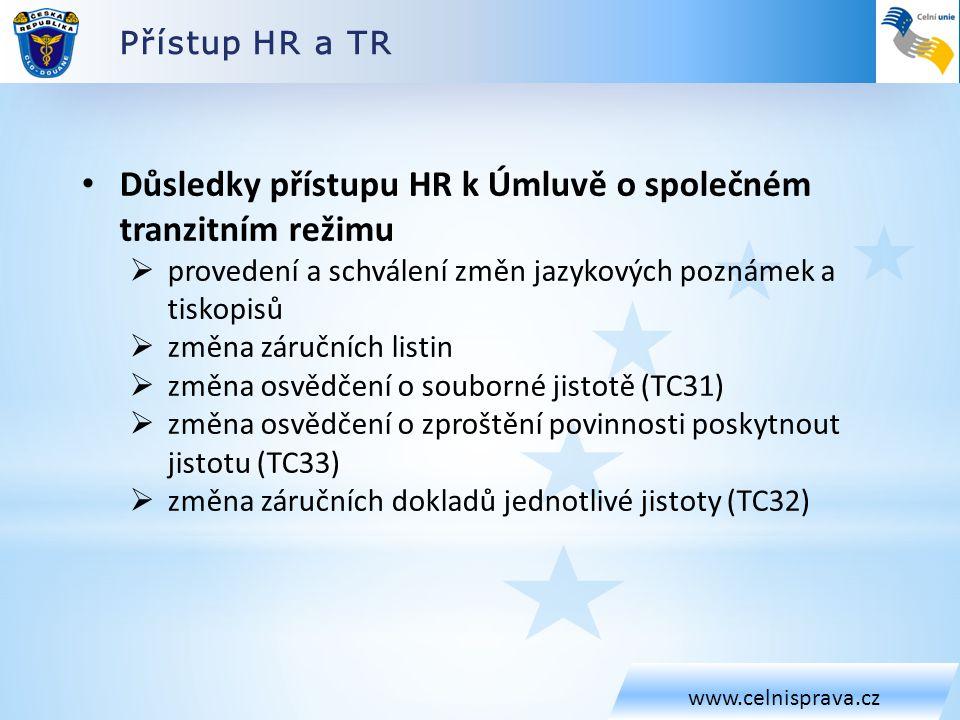 Přístup HR a TR www.celnisprava.cz • Důsledky přístupu HR k Úmluvě o společném tranzitním režimu  provedení a schválení změn jazykových poznámek a tiskopisů  změna záručních listin  změna osvědčení o souborné jistotě (TC31)  změna osvědčení o zproštění povinnosti poskytnout jistotu (TC33)  změna záručních dokladů jednotlivé jistoty (TC32)