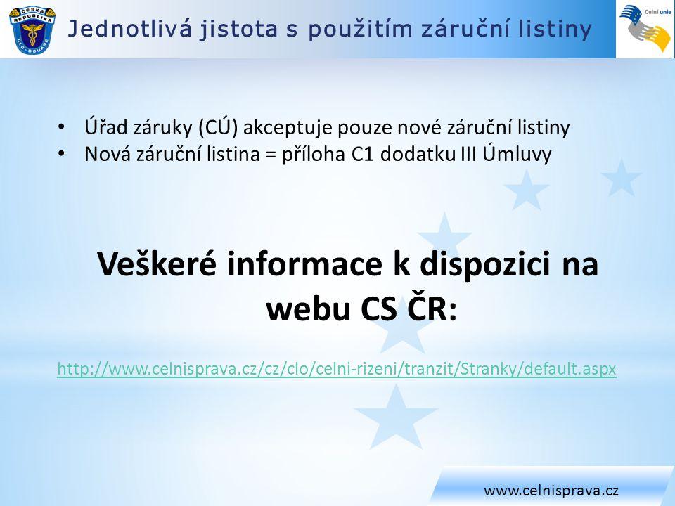 Jednotlivá jistota s použitím záruční listiny www.celnisprava.cz • Úřad záruky (CÚ) akceptuje pouze nové záruční listiny • Nová záruční listina = příl