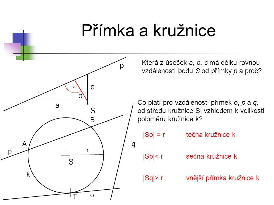 Sečna S p k A B Přímka p je sečna kružnice k.Body A a B jsou průsečíky přímky p a kružnice k.