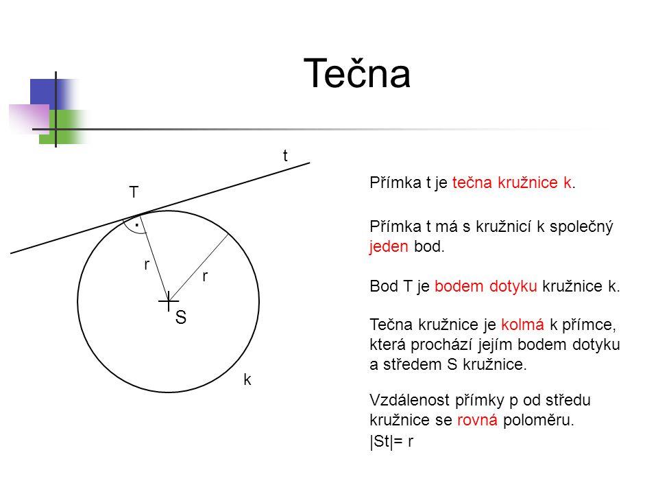 Vnější přímka S p k Přímka p je vnější přímkou kružnice k.