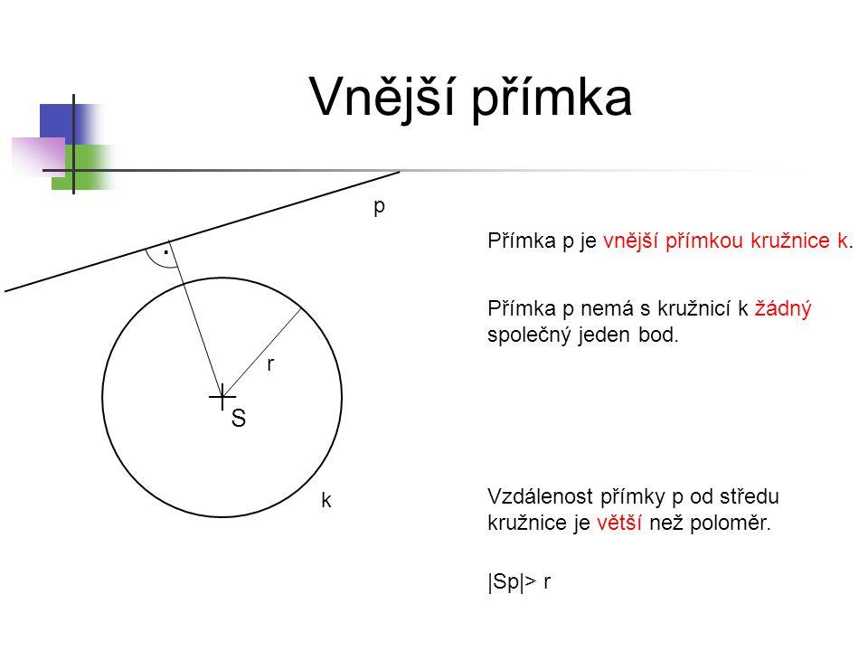 Vzájemná poloha přímky a kružnice Jak se nazývá nejdelší tětiva každé kružnice.