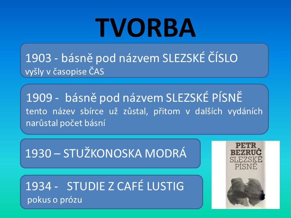 TVORBA 1903 - básně pod názvem SLEZSKÉ ČÍSLO vyšly v časopise ČAS 1909 - básně pod názvem SLEZSKÉ PÍSNĚ tento název sbírce už zůstal, přitom v dalších