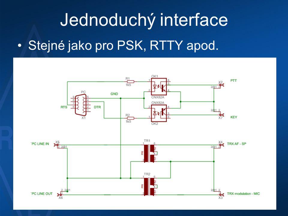 Jednoduchý interface •Stejné jako pro PSK, RTTY apod.