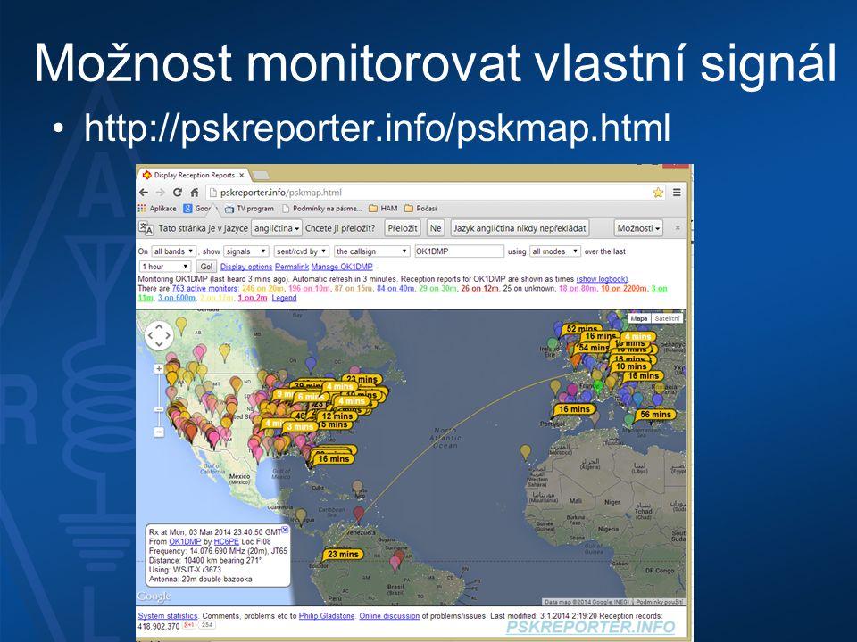Možnost monitorovat vlastní signál •http://pskreporter.info/pskmap.html