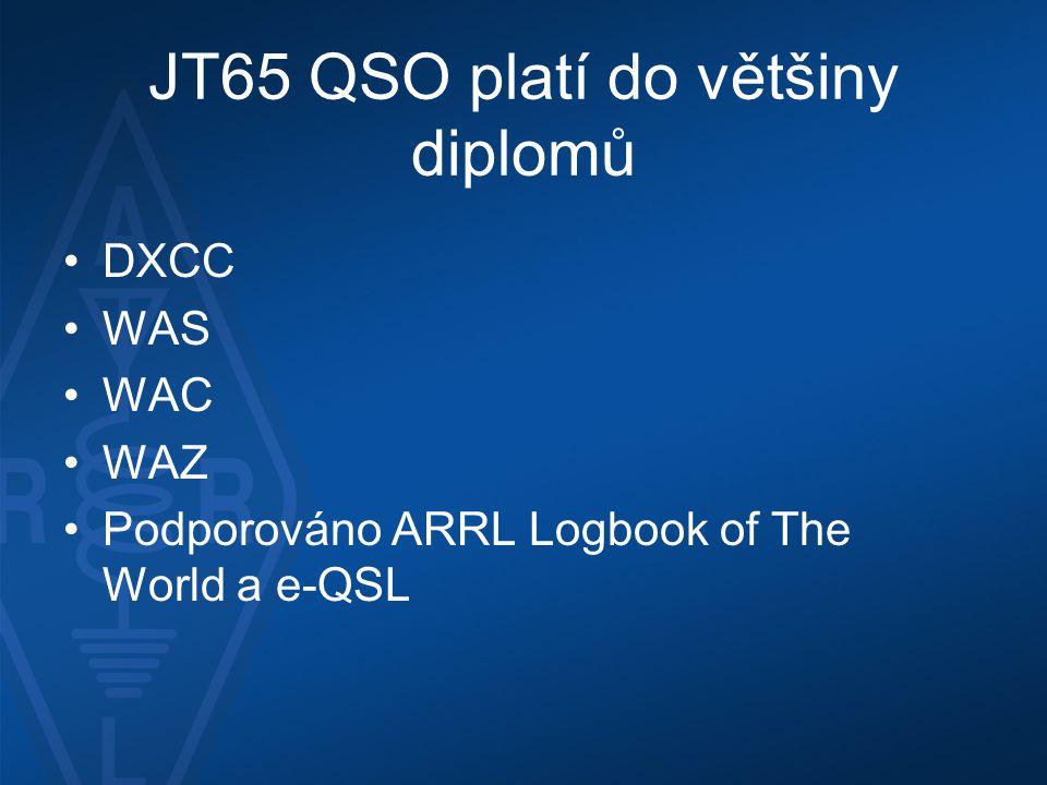 JT65 QSO platí do většiny diplomů •DXCC •WAS •WAC •WAZ •Podporováno ARRL Logbook of The World a e-QSL
