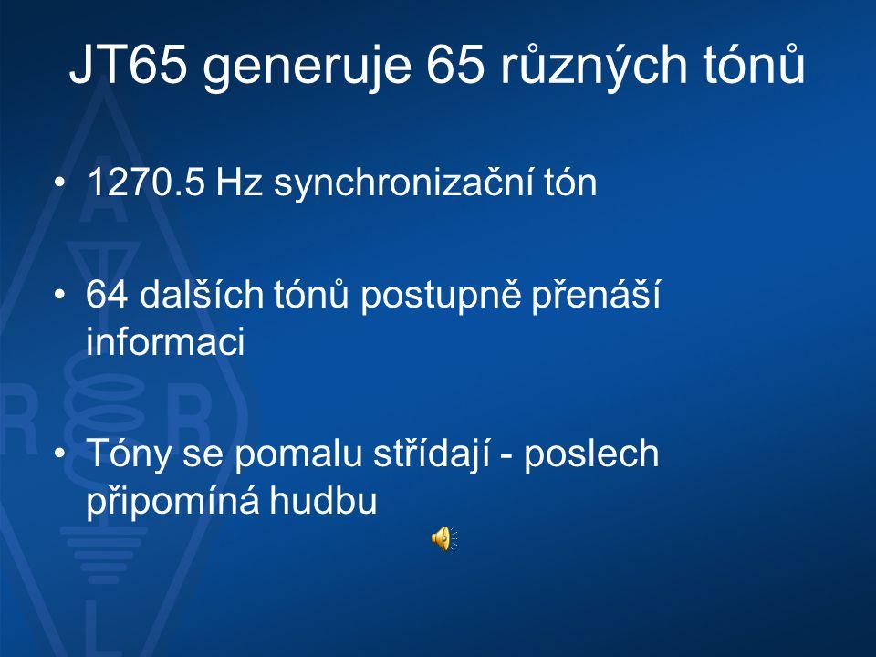 JT65 generuje 65 různých tónů •1270.5 Hz synchronizační tón •64 dalších tónů postupně přenáší informaci •Tóny se pomalu střídají - poslech připomíná h