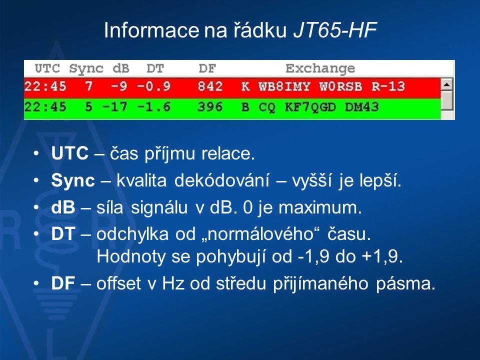 Informace na řádku JT65-HF •UTC – čas příjmu relace. •Sync – kvalita dekódování – vyšší je lepší. •dB – síla signálu v dB. 0 je maximum. •DT – odchylk