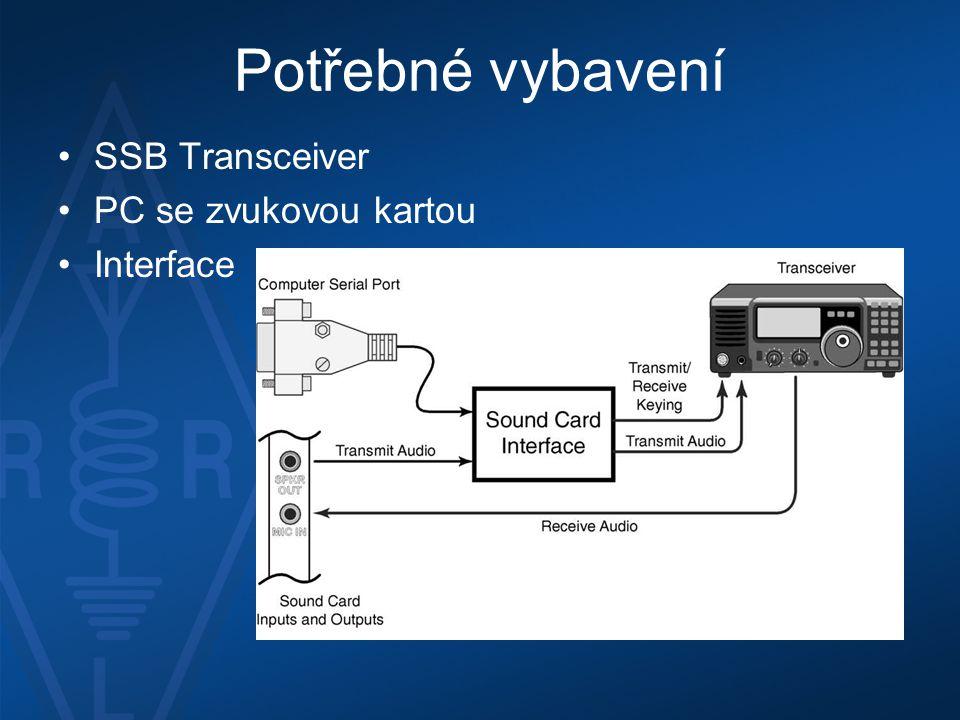 Potřebné vybavení •SSB Transceiver •PC se zvukovou kartou •Interface