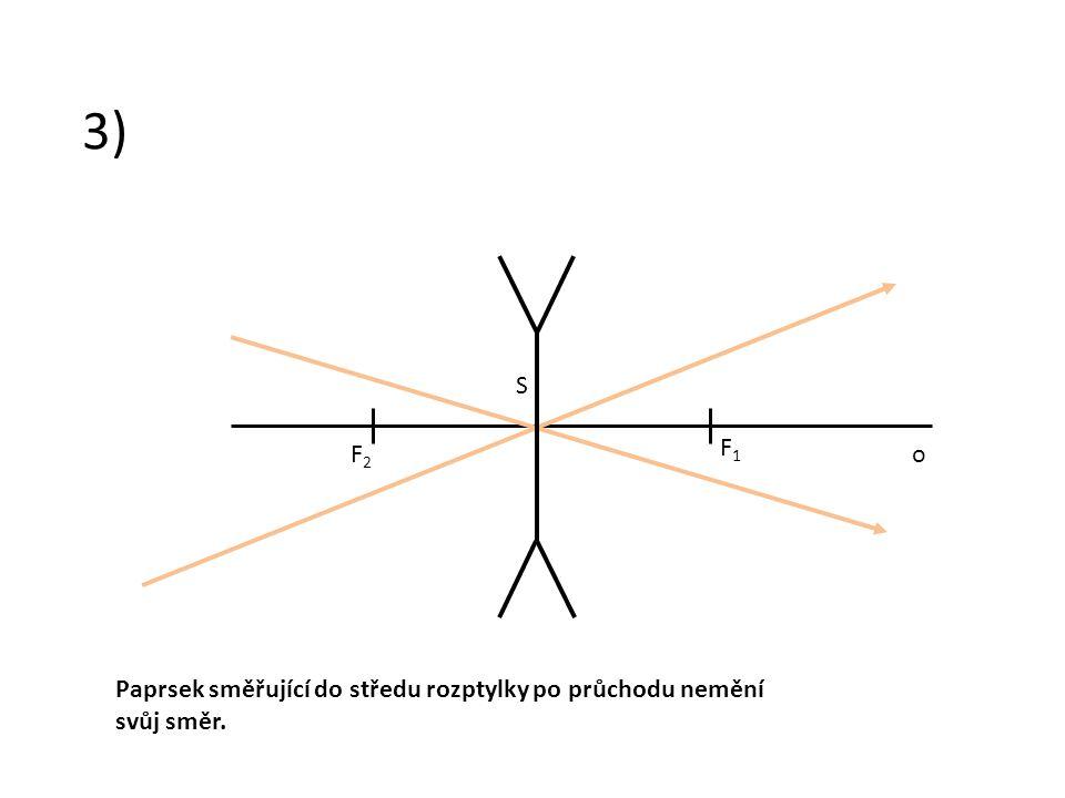 3) Paprsek směřující do středu rozptylky po průchodu nemění svůj směr. F2F2 F1F1 S o