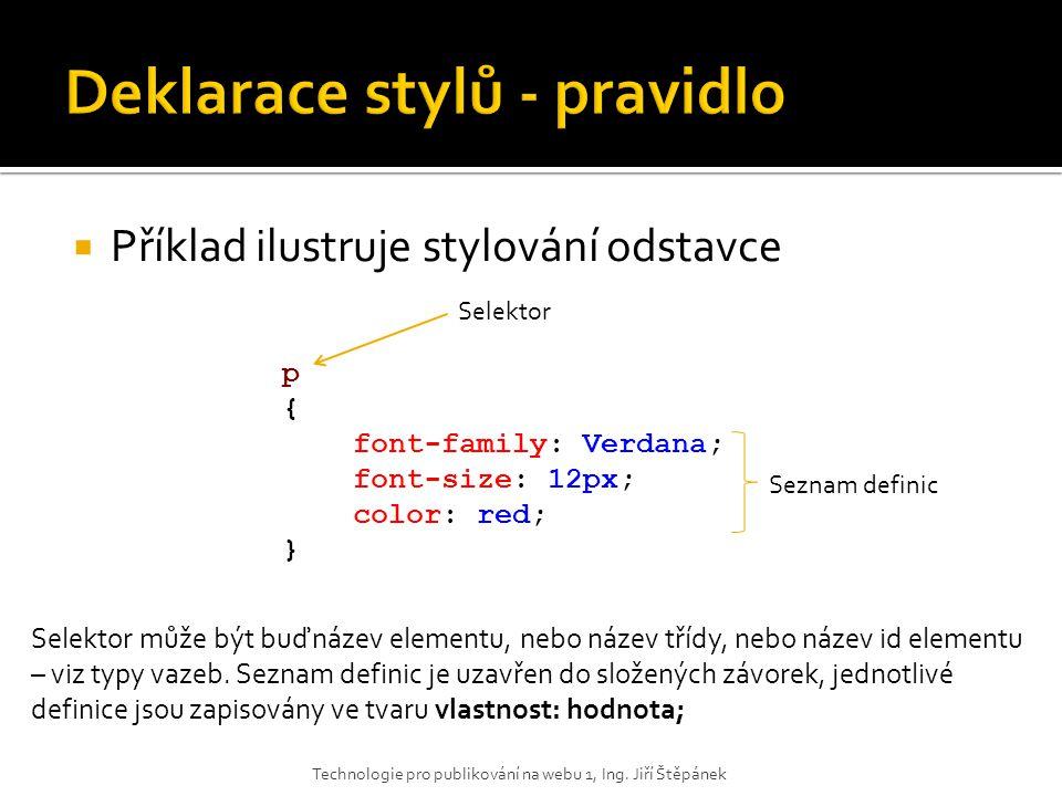  Příklad ilustruje stylování odstavce Technologie pro publikování na webu 1, Ing. Jiří Štěpánek p { font-family: Verdana; font-size: 12px; color: red