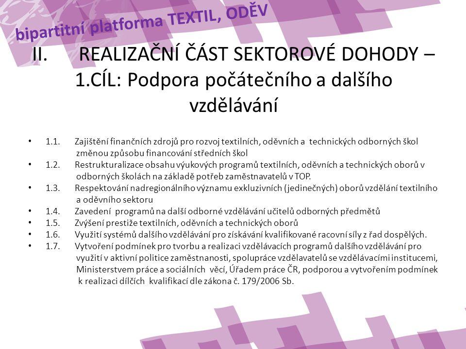 bipartitní platforma TEXTIL, ODĚV II.REALIZAČNÍ ČÁST SEKTOROVÉ DOHODY – 1.CÍL: Podpora počátečního a dalšího vzdělávání • 1.1.Zajištění finančních zdrojů pro rozvoj textilních, oděvních a technických odborných škol změnou způsobu financování středních škol • 1.2.Restrukturalizace obsahu výukových programů textilních, oděvních a technických oborů v odborných školách na základě potřeb zaměstnavatelů v TOP.