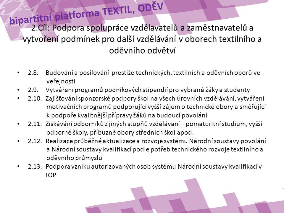 bipartitní platforma TEXTIL, ODĚV 2.Cíl: Podpora spolupráce vzdělavatelů a zaměstnavatelů a vytvoření podmínek pro další vzdělávání v oborech textilního a oděvního odvětví • 2.8.Budování a posilování prestiže technických, textilních a oděvních oborů ve veřejnosti • 2.9.Vytváření programů podnikových stipendií pro vybrané žáky a studenty • 2.10.Zajišťování sponzorské podpory škol na všech úrovních vzdělávání, vytváření motivačních programů podporující vyšší zájem o technické obory a směřující k podpoře kvalitnější přípravy žáků na budoucí povolání • 2.11.Získávání odborníků z jiných stupňů vzdělávání – pomaturitní studium, vyšší odborné školy, příbuzné obory středních škol apod.