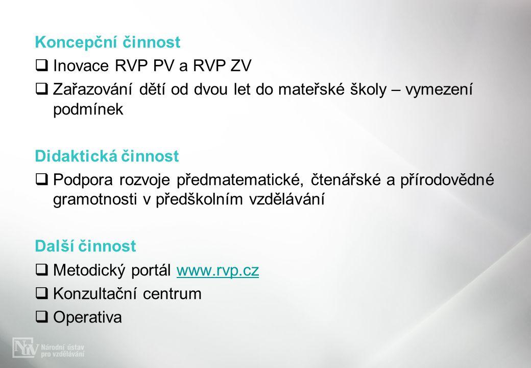 Koncepční činnost  Inovace RVP PV a RVP ZV  Zařazování dětí od dvou let do mateřské školy – vymezení podmínek Didaktická činnost  Podpora rozvoje p
