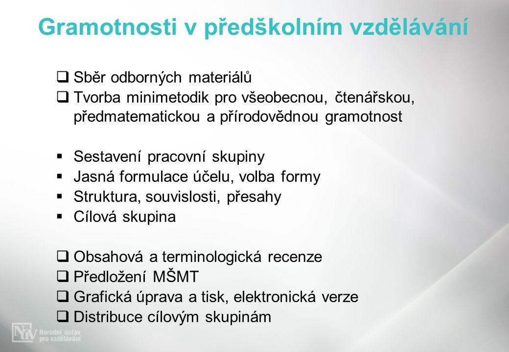 Gramotnosti v předškolním vzdělávání  Sběr odborných materiálů  Tvorba minimetodik pro všeobecnou, čtenářskou, předmatematickou a přírodovědnou gram