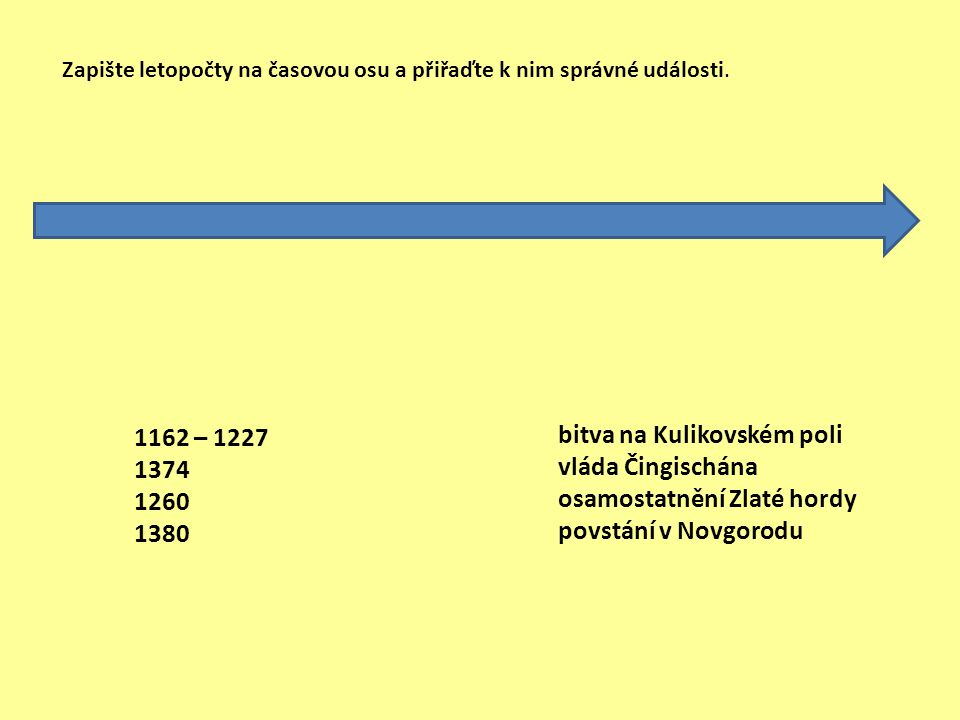 1162 – 1227 1374 1260 1380 bitva na Kulikovském poli vláda Čingischána osamostatnění Zlaté hordy povstání v Novgorodu Zapište letopočty na časovou osu