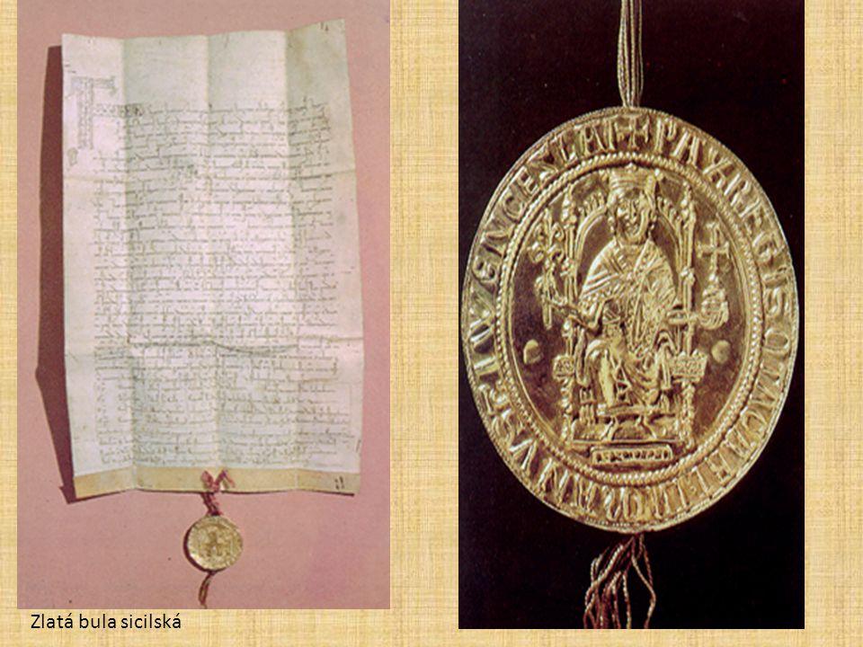 PřemyslPřemysl Ot. I. (1198 – 1230) • Konec vnitřních bojů o český trůn • Seniorát nahrazen PRIMOGENITUROU • Využil spory Welfů a Štaufů v Říši • 1212