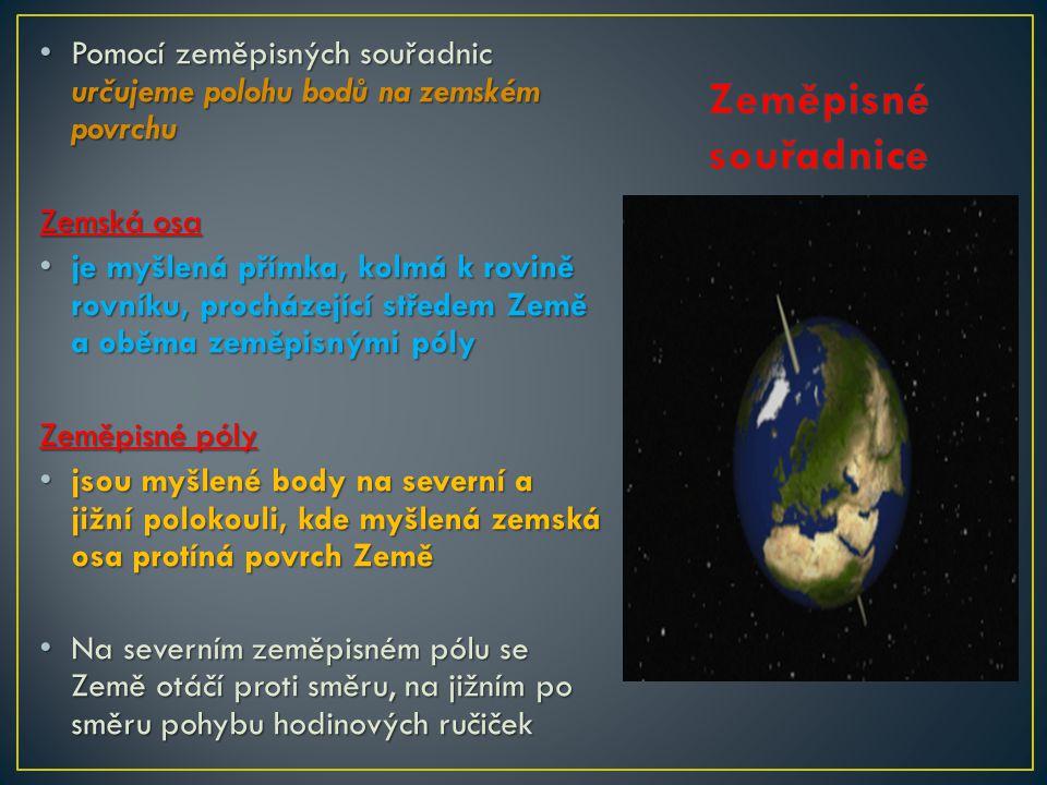 • severní pól (rovnoběžka 90° severní šířky), • severní polární kruh (rovnoběžka 66°33 ′ severní šířky), • obratník Raka (rovnoběžka 23°27 ′ severní šířky), • rovník (rovnoběžka 0°), • obratník Kozoroha (rovnoběžka 23°27 ′ jižní šířky), • jižní polární kruh (rovnoběžka 66°33 ′ jižní šířky) • jižní pól (rovnoběžka 90° jižní šířky)