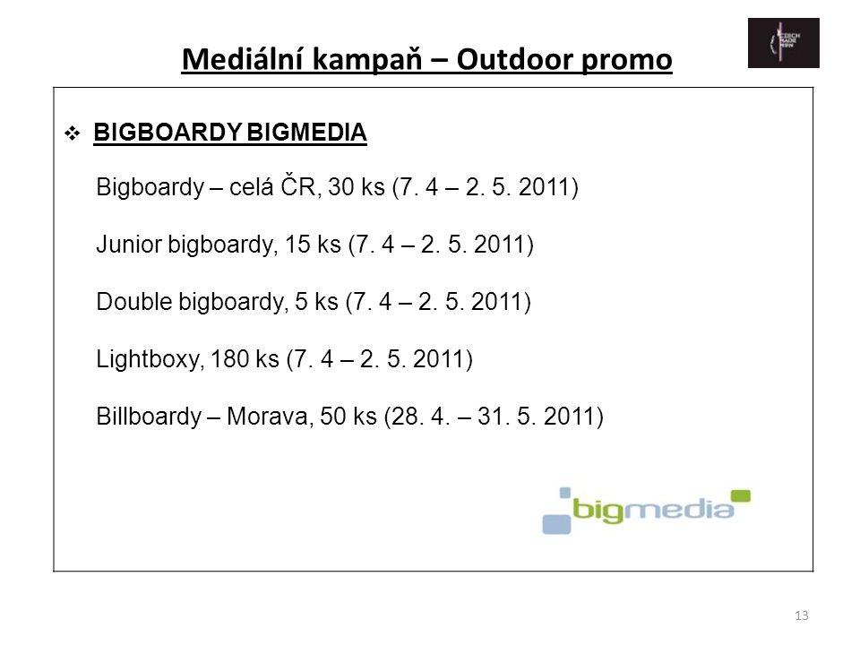 13  BIGBOARDY BIGMEDIA Bigboardy – celá ČR, 30 ks (7. 4 – 2. 5. 2011) Junior bigboardy, 15 ks (7. 4 – 2. 5. 2011) Double bigboardy, 5 ks (7. 4 – 2. 5
