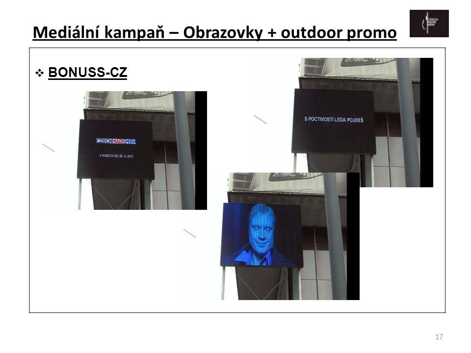 17  BONUSS-CZ Mediální kampaň – Obrazovky + outdoor promo