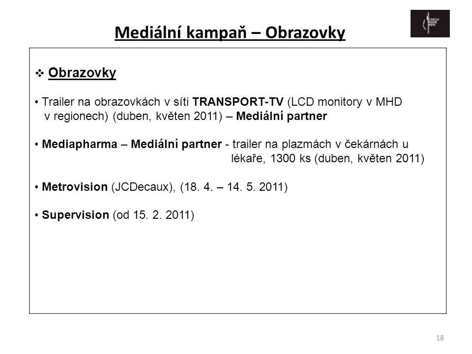 18  Obrazovky • Trailer na obrazovkách v síti TRANSPORT-TV (LCD monitory v MHD v regionech) (duben, květen 2011) – Mediální partner • Mediapharma – M