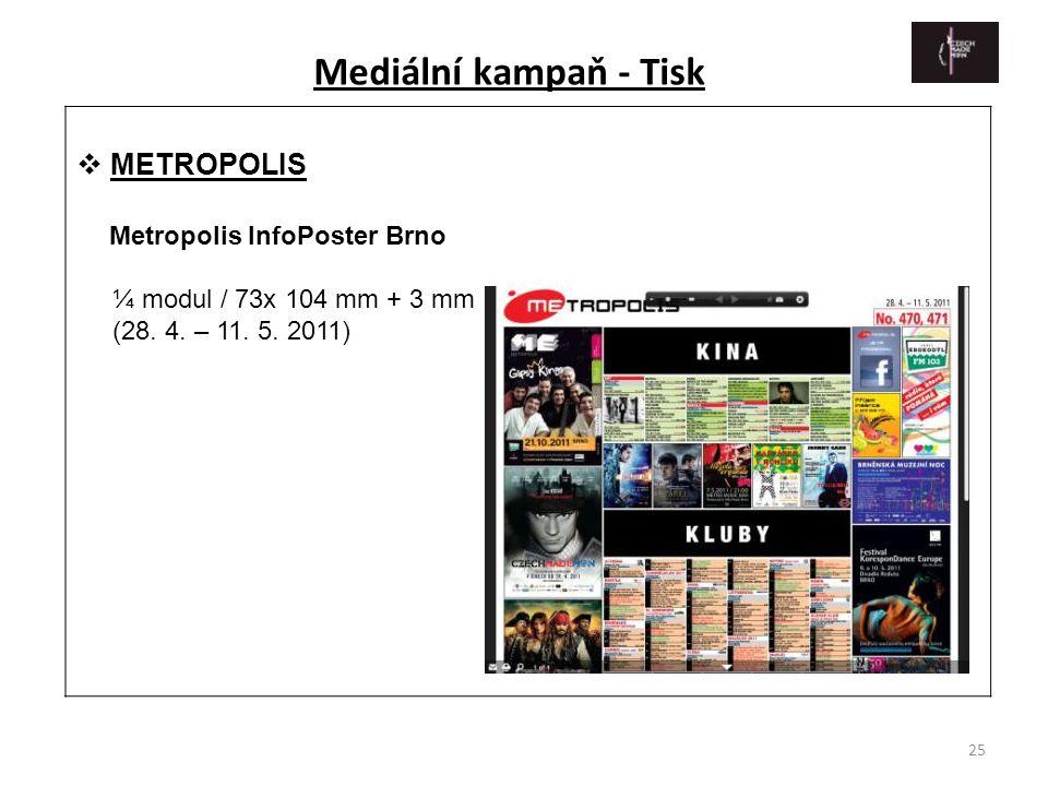 25  METROPOLIS Metropolis InfoPoster Brno ¼ modul / 73x 104 mm + 3 mm (28. 4. – 11. 5. 2011) Mediální kampaň - Tisk