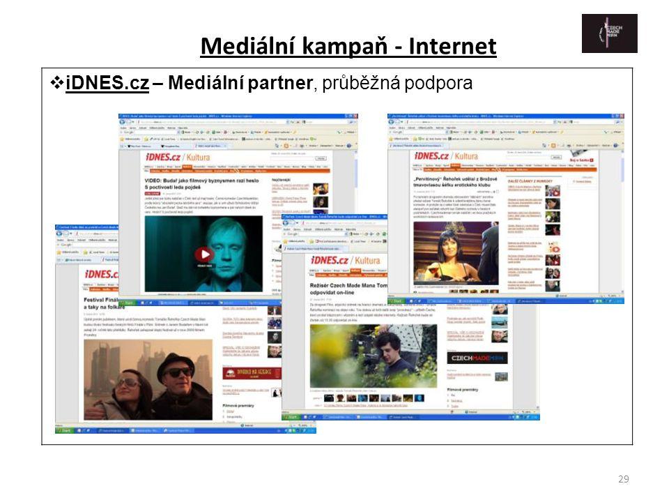 29  iDNES.cz – Mediální partner, průběžná podpora Mediální kampaň - Internet