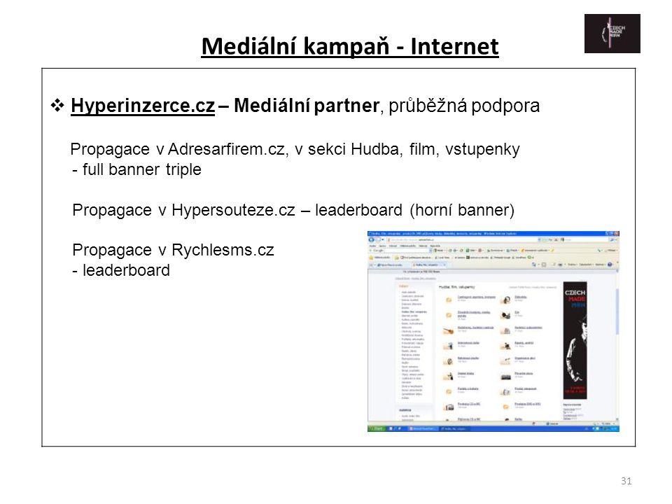 31  Hyperinzerce.cz – Mediální partner, průběžná podpora Propagace v Adresarfirem.cz, v sekci Hudba, film, vstupenky - full banner triple Propagace v