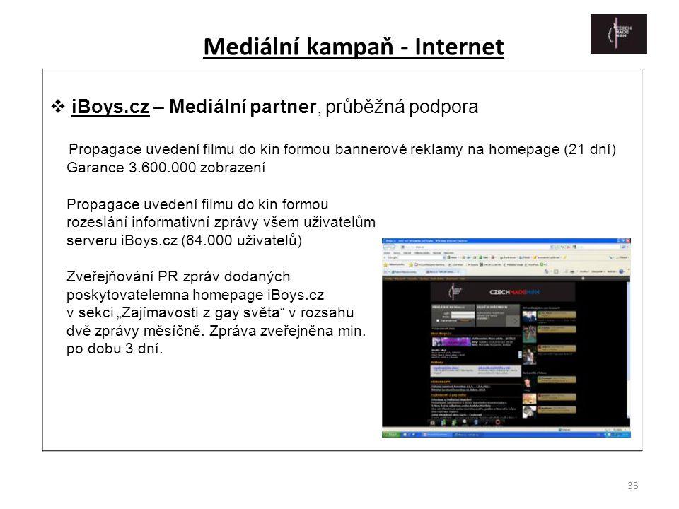 33  iBoys.cz – Mediální partner, průběžná podpora Propagace uvedení filmu do kin formou bannerové reklamy na homepage (21 dní) Garance 3.600.000 zobr