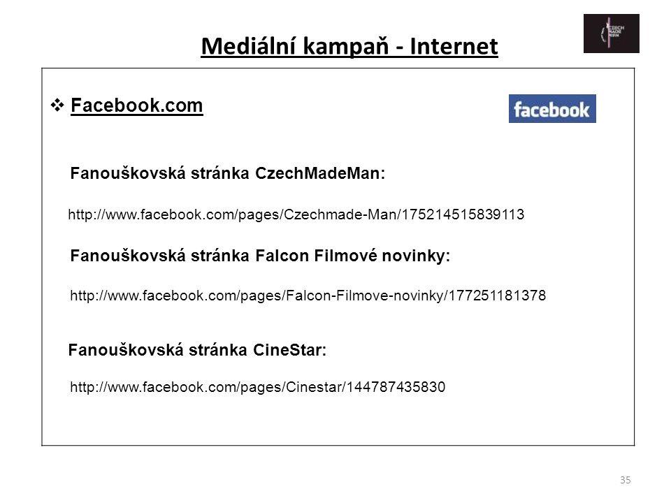 35  Facebook.com Fanouškovská stránka CzechMadeMan: http://www.facebook.com/pages/Czechmade-Man/175214515839113 Fanouškovská stránka Falcon Filmové n