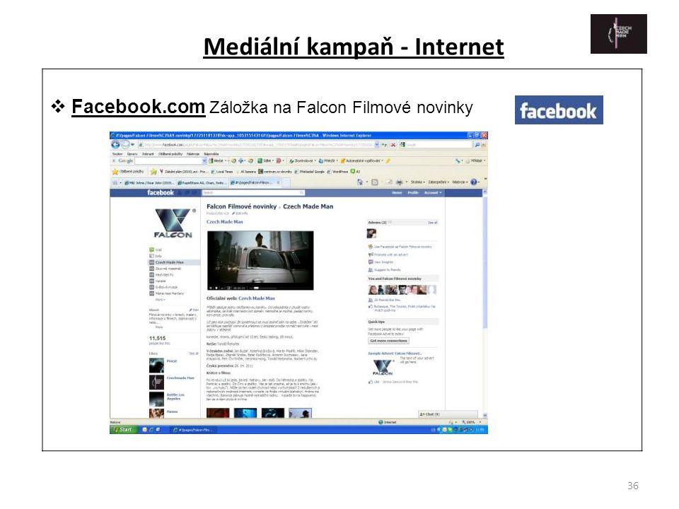 36  Facebook.com Záložka na Falcon Filmové novinky Mediální kampaň - Internet